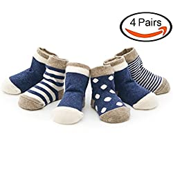 Echodo Unisex Baby Socks Newborn Cotton Socks for Kids 4 Pairs (0-6 Months)