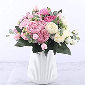 You Are My Eye 30cm Rose Pink Silk Peony Artificial Flowers Bouquet 5 Big Head 4 Bud Fake Flowers Home Wedding Decoration,Pink 2