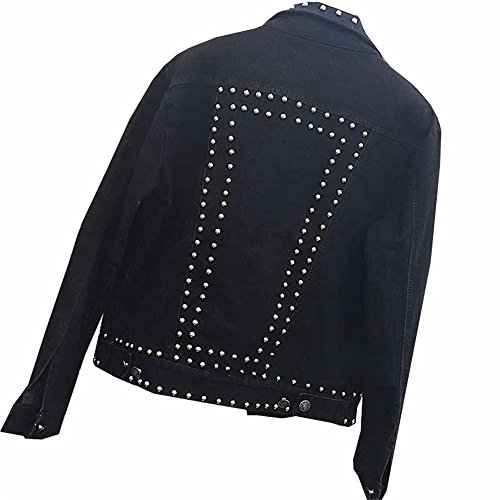 Mezclilla Rivet Suelto Mujeres Denim Jacket Manga Negro Chaquetas Larga de Otoño Jean Haroty Invierno Jacket qwztd8wO