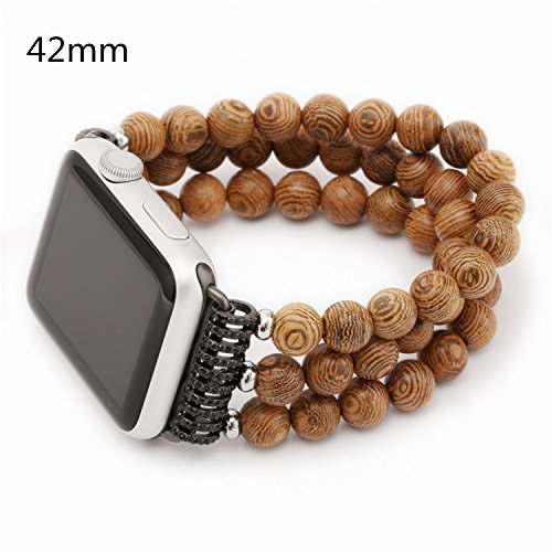 Ramida Applies to Apple Watch Apple straps hand-made threaded pearl beads with 38/42mm (Brown/42mm) (Bead Watch Band)