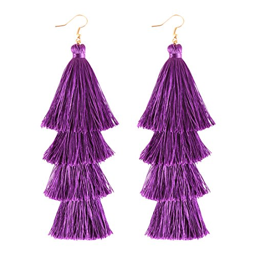ELEARD Tassel Earrings Tiered Thread Tassel Dangle Earrings Statement Layered Tassel Drop Earrings (Drop Purple Earrings)
