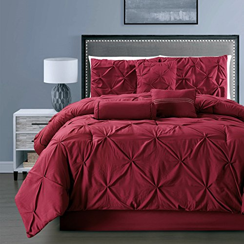 7- Piece Solid BURGUNDY RED Pinch Pleat DUVET COVER Set FULL / QUEEN Size Bedding with Accent Pillows