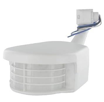 Leviton RS110 - 10 W 500 W incandescente PIR al aire libre Sensor de ocupación, color blanco: Amazon.es: Bricolaje y herramientas