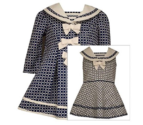 - Bonnie Jean Baby-Girls Houndstooth Coat and Dress Set (2T, Navy)