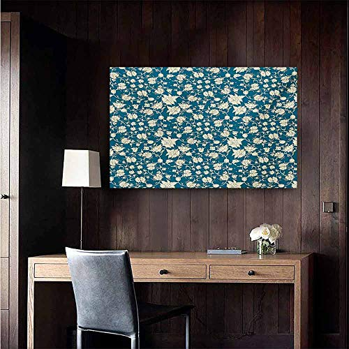 duommhome Chinese Modern Oil Paintings Flowering Garden Pattern with Scroll Details Vintage Leaves and Blossoms Canvas Wall Art 20