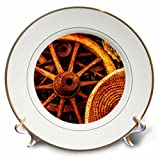 3dRose Alexis Photography - Objects - Golden age technologies - Cart wheels and wicker baskets - 8 inch Porcelain Plate (cp_270873_1)