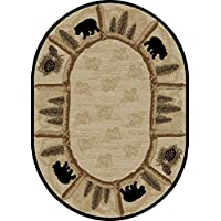 Dean Toccoa Bear Lodge Cabin Bear Area Rug Size: 53 x 73 Oval