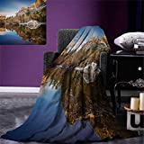 Anniutwo Yosemite Throw Blanket Yosemite Mirror Lake Mountain Reflection on Water Sunset Evening View Picture Warm Microfiber All Season Blanket Bed Couch 50''x30'' Navy Brown