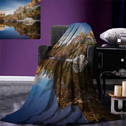 Anniutwo Yosemite Throw Blanket Yosemite Mirror Lake Mountain Reflection on Water Sunset Evening View Picture Warm Microfiber All Season Blanket Bed Couch 50''x30'' Navy Brown by Anniutwo