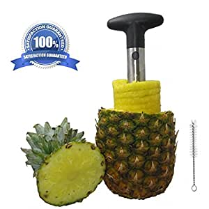 Pineapple Corer Slicer Peeler | Bonus Cleaning Brush | BPA Free | Food Grade Silver Stainless Steel | 3 in 1 Fruit Cutting Tool | Great Kitchen Gadget for Foodies, Chefs, Busy Moms | Shavicore