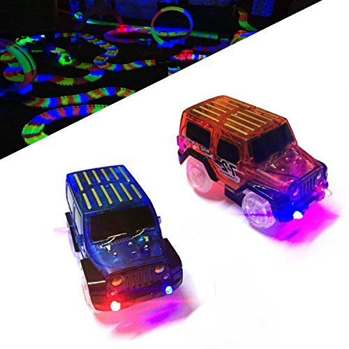EXTRA CARS – Replacement light up Cars for Magic Tracks (cars only) – Glow in the Dark Led Race Car set 2 pack – Compatible with Most Flexible Car Tracks, for Boys and Girls