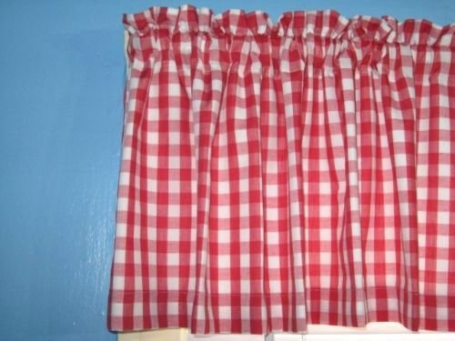 LINED Red White 1/4 square Gingham Checked Window Curtain valance