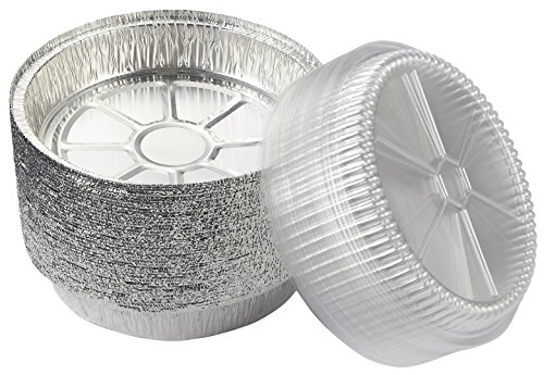 Aluminum Foil Pans - 40-Piece Round Disposable Pans with Plastic Clear Lids for Baking, Roasting, Broiling, Cooking, 9 Inches (Cooking Tins)