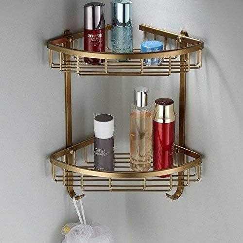 収納ラック棚 アンティーク浴室棚ヨーロッパアルミ合金化粧品収納ボックス真鍮浴室棚壁掛け浴室ハードウェアセット 家のホテルの装飾のため