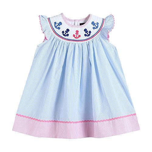 32164040093 Bishop Dress Blue Stripes with Anchors