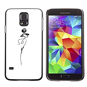 LECELL--Funda protectora / Cubierta / Piel For Samsung Galaxy S5 SM-G900 -- Abstract Lady Woman Dancer Squiggle White --
