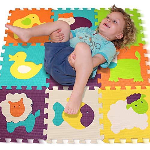 Foam Puzzle Play Mat, Tomi Baby Playmat with 9 Soft Interlocking Floor Tiles for Infants, Toddlers and Kids-Great Mats for Crawling and Playing -Vibrant Animal Shapes- Non Toxic