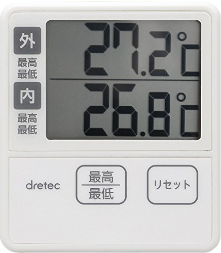 드레텍 dretec(dretec) 온도계・습도계 아이보리 7.3×1.6×8.4cm O-285IV