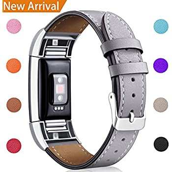 For Fitbit Charge 2 Replacement Bands, Hotodeal Classic Genuine Leather Wristband With Metal Connectors, Fitness Strap for Charge 2, Gray