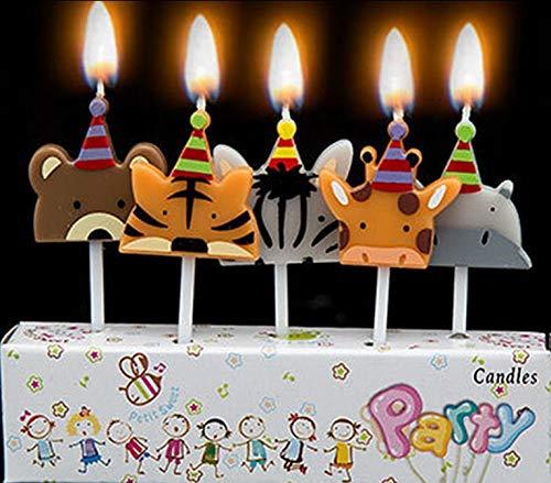 Tarta de cumpleaños velas – animales salvajes