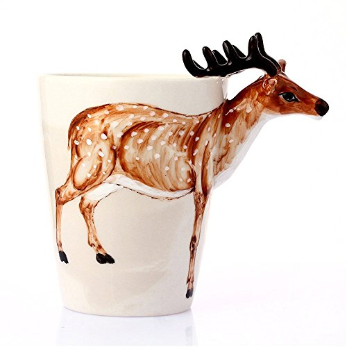 - 3D Coffee Mug, Handmade Hand Painted Creative Art Mug Ceramic Milk Cups Travel Mug Ocean Deer Style