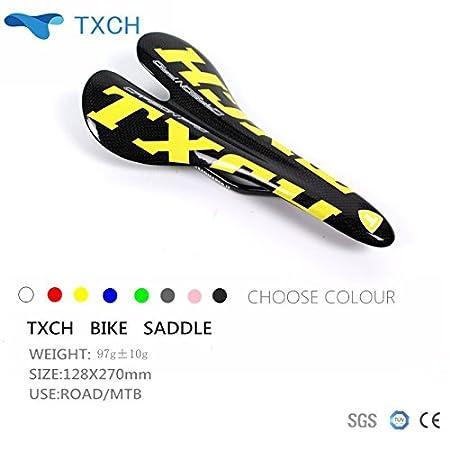 Sillín 3k llena de fibra de carbono, para bicicleta, brillante/mate, Yellow-Black WellinCai
