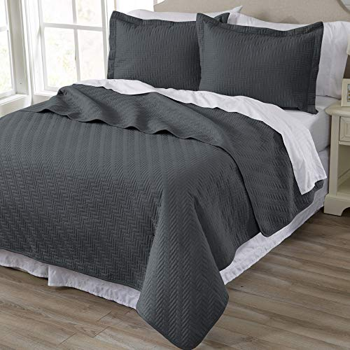 (Home Fashion Designs 3-Piece Luxury Quilt Set with Shams. Soft All-Season Microfiber Bedspread and Coverlet in Solid Colors. Emerson Collection Brand. (Full/Queen, Dark Grey))