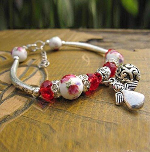 Aidou Charm Bracelets Alloy Pendant Bracelet DIY Beaded Bracelet(Angel) for Women Girls