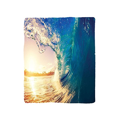 VROSELV Custom Blanket Ocean Ocean Wave At Sunrise Reflection On Surface Tropical Trees Shoreline Summertime Picture Bedroom Living Room Dorm Teal Gold (Summertime Photo Sun)