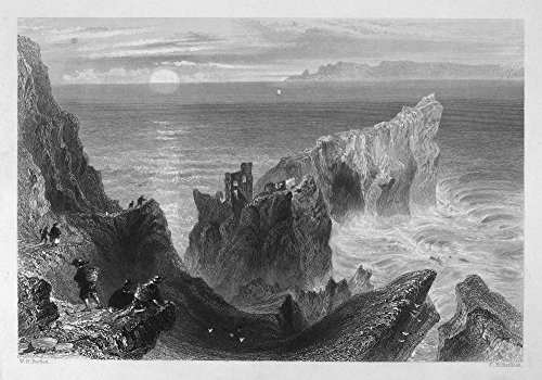 Ireland Kinbane Castle Nview Of The Ruins Of Kinbane Castle County Antrim Northern Ireland Steel Engraving English C1840 After William Henry Bartlett Poster Print by (18 x 24)