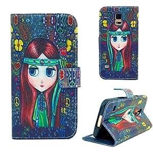 GX patrón de las muchachas de flor de la PU cuero caso de cuerpo completo con tapa de la ranura de tarjetas para samsung i9600 s5