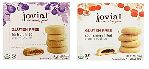 Jovial Cookies, Sour cheery filled , Fig filled ,Each of 1 , Pack of 2