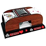 Deluxe Wooden 1 or 2 Deck Automatic Card Shuffler - Includes Bonus Deck of Cards!