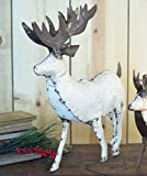 Large White Recycled Metal Deer