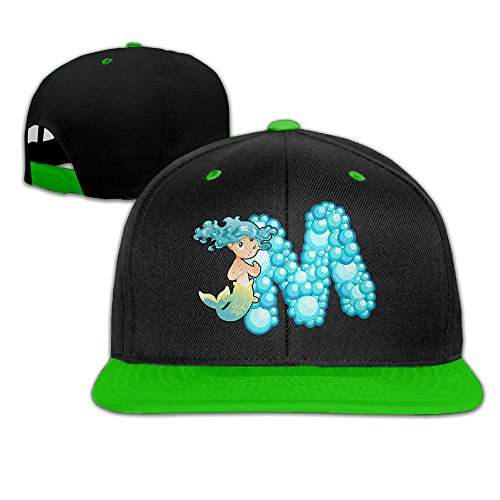 ZOENA Ocean Mermaid Alphabet M Hip-Hop Cotton Hats Trucker Cap Hat KellyGreen