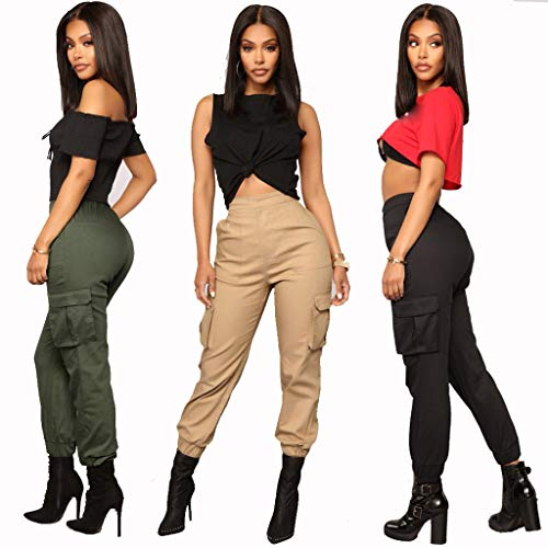 Múltiples Elástica Monos Ocasionales Bolsillos Con Largos Harem Cintura Deportes Negro Pantalones Zarupeng Mujeres wqxHpXSx