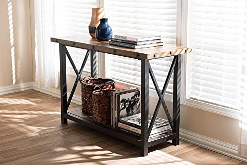 Rustic Occasional Tables (Baxton Studio Herzen Rustic Industrial Style Antique Black Textured Finished Metal Distressed Wood Occasional Console Table)