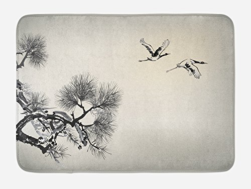 Lunarable Birds Bath Mat, Ink Style Japanese Pine Tree with Birds Friends Hope Swallow Flying to The Future, Plush Bathroom Decor Mat with Non Slip Backing, 29.5 W X 17.5 L Inches, Ecru Black ()