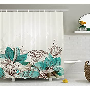 Ambesonne Turquoise Decor Shower Curtain Set Retro Floral Background With Hibiscus Silhouettes Dramatic Romantic Nature Art Bathroom Accessories