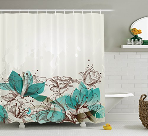 Turquoise Decor Shower Curtain Set By Ambesonne, Retro Floral Background With Hibiscus Silhouettes Dramatic Romantic Nature Art , Bathroom Accessories, 69W X 70L Inches, Beige Teal