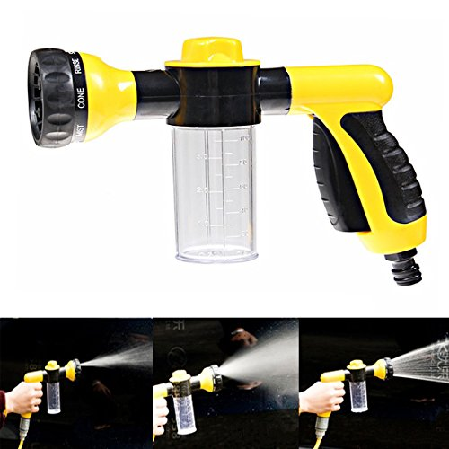 Aution House - Multifunctional High Pressure Foam Water Spray Gun Home Garden Lawn Pet Car Wash - Heavy Duty 8 Pattern Metal Watering Nozzle - Water Gun Garden Hose Nozzle Sprayer Gun - Flow Control Setting Knob - Designed for Car Washing, Garden/Lawn Watering, Room/Deck/Floor Cleaning, Pets Washing (Yellow)