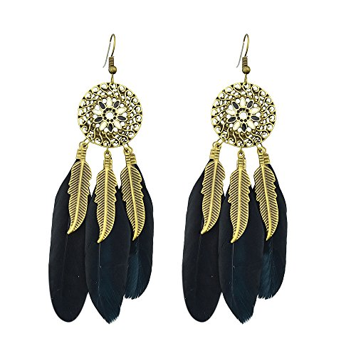 Gothic Design Ethnic Style Long Colorful Feather Gold Leaf Dangle Drop Chandelier Earrings (Black & Gold Leaf Earrings)