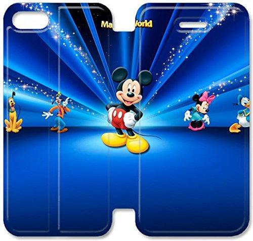 Flip étui en cuir PU Stand pour Coque iPhone 5 5S, bricolage 5 5S cas de téléphone portable Disney Bureau Images étui en cuir D5D2OM Coque iPhone bricolage Unique