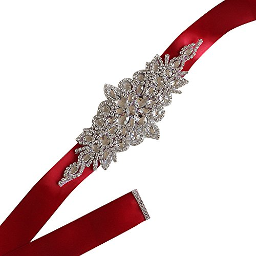 Woman Rhinestone Belts for Evening Prom Dresses Teen Girls Crystal Satin Ribbon Sash Burgundy (Silk Belt Beaded)