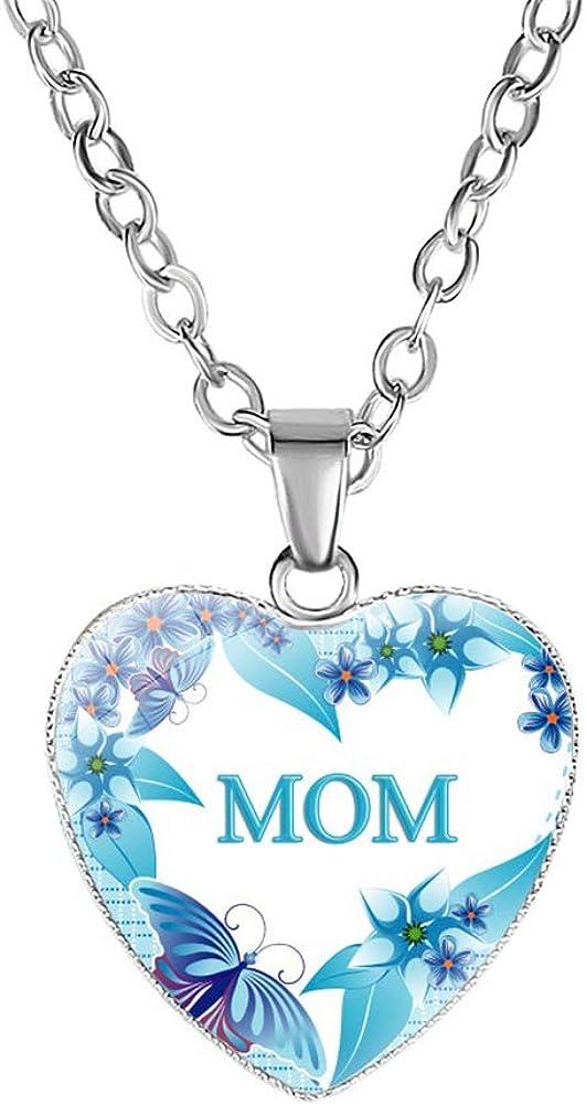 aloiness El Amor de Mamá Collar Colgante en Forma de Corazon Collar de Piedras Preciosas Regalo del Dia de la Madre
