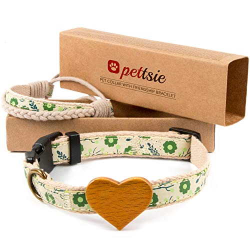 Matching Dog Collar Heart & Owner Friendship Bracelet, Adjustable Size Small & Medium, Safe, Durable, Eco Friendly Hemp with Fancy Pattern, Soft, Comfortable & Strong, Great Gift for Dog Lovers