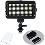 VILTROX VL-162T 162 LED Video light, Portable Camera Photo Light Panel Dimmable for DSLR Camera Camcorder with Battery, Charger, High Brightness, 3300K-5600K Bi-Color, White Filter and LCD Display