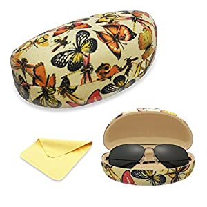 Yulan Hard Shell Sunglasses Case,Classic Extra Large Case for Oversized Sunglasses and Eyeglasses
