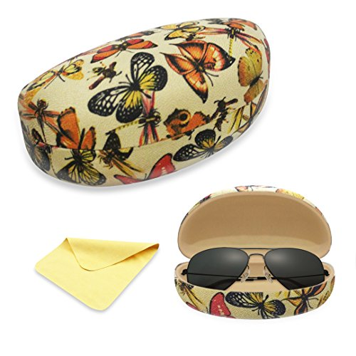 Case Eyeglass Butterflies (Yulan Hard Clam-shell Glasses Case, Classic Large Case for Eyeglasses and Sunglasses(Butterfly))