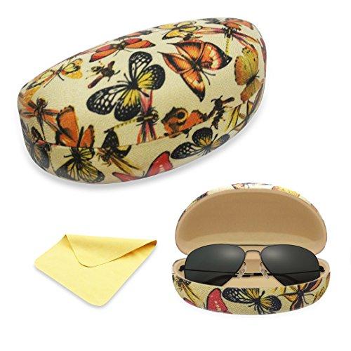 Yulan Hard Shell Sunglasses Case,Classic Extra Large Case for Oversized Sunglasses and Eyeglasses